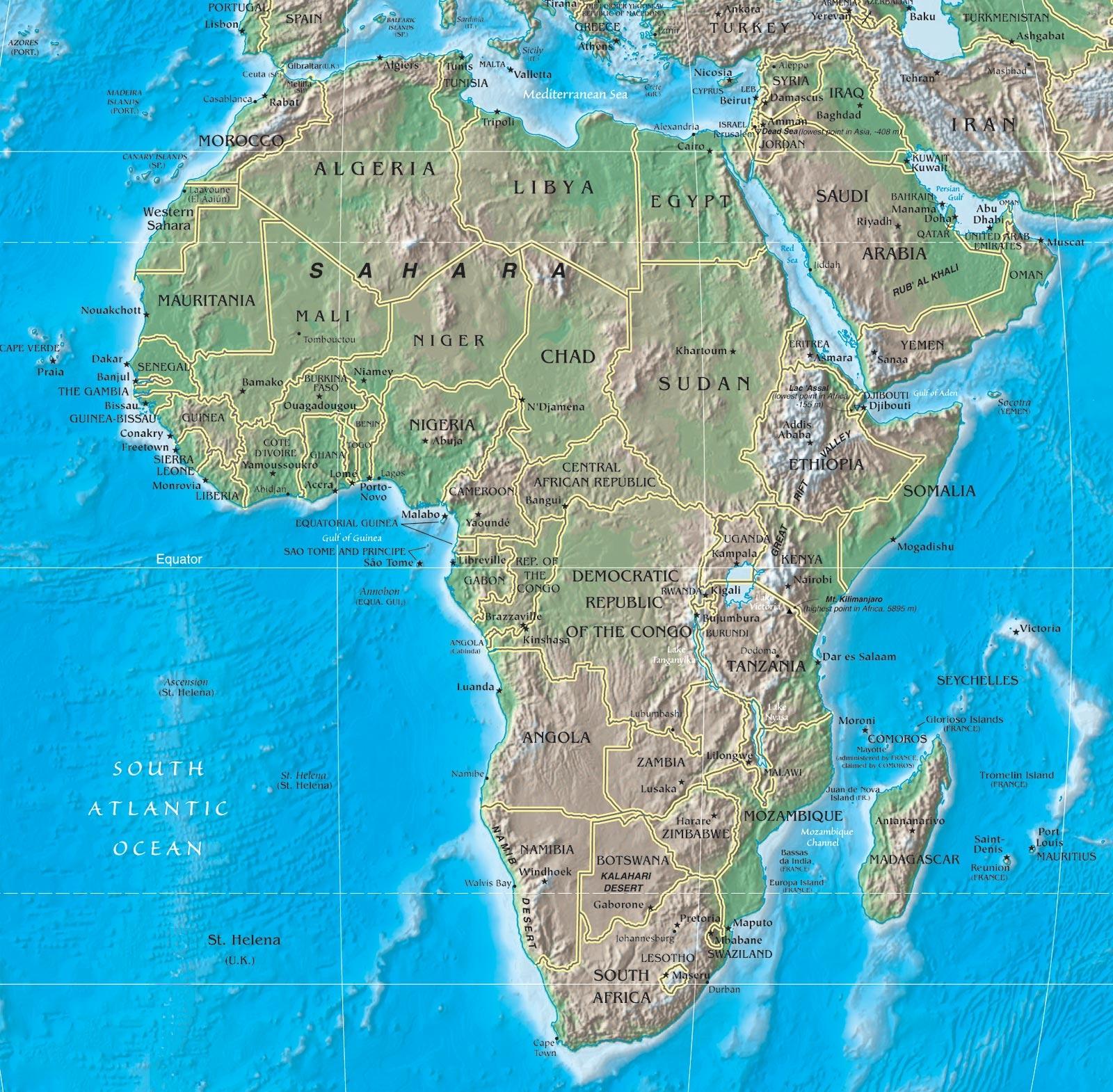 Mappa fisica dell'Africa