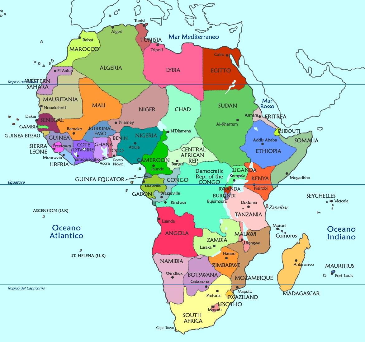Mappa politica dell'Africa